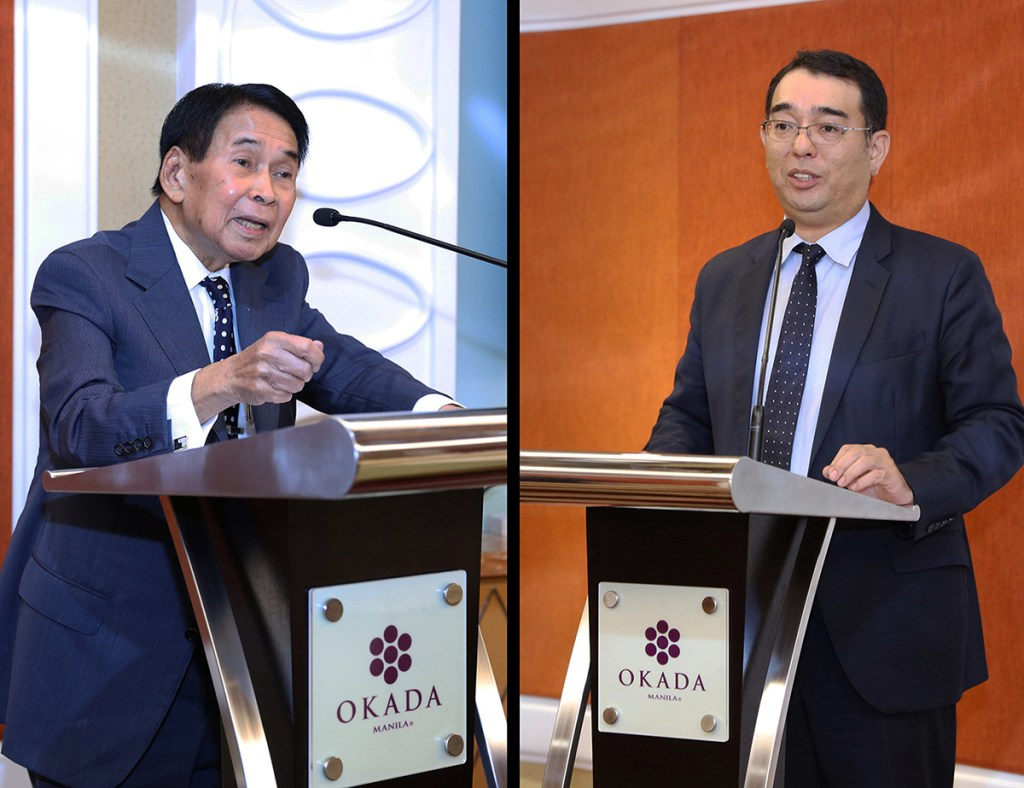 Justice Manuel Lazaro, Okada Manila board chairman (left) and Okada Manila President Kenji Sugiyama (Photo by Misael Bacani, UP MPRO)