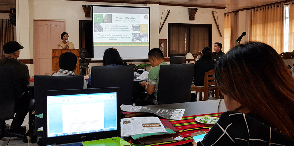 Dr. Teodora D. Balongcod of the College of Science discussing the mummification process that was practiced in the Cordilleras. (Photo by Celeste Llaneta, UPMPRO)