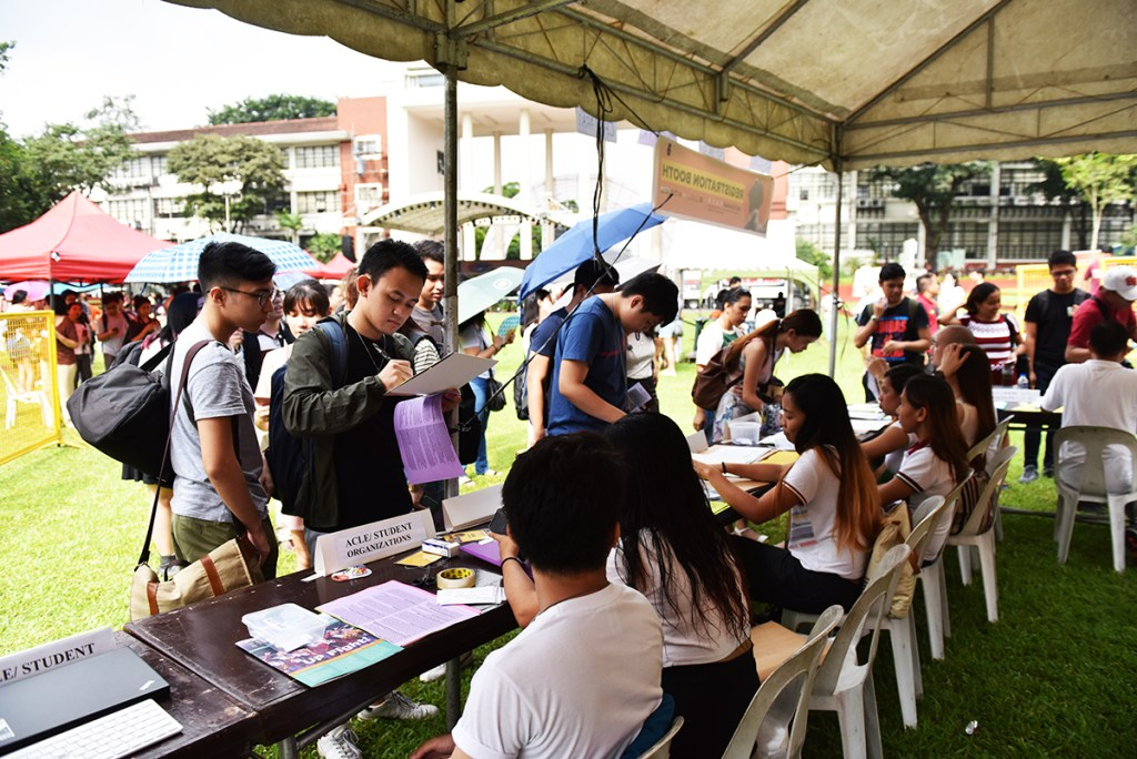 Students drop in to the fair the whole day. (Photo by Bong Arboleda, UP MPRO)