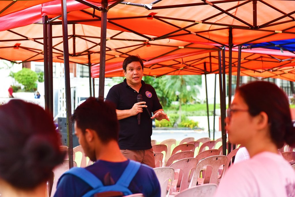 Prof. Alfredo Mahar Francisco Lagmay of the UP Resilience Institute and UP NOAH updates the public on the system-wide efforts of UP toward disaster and climate change resiliency. (Photo by Bong Arboleda, UP MPRO)