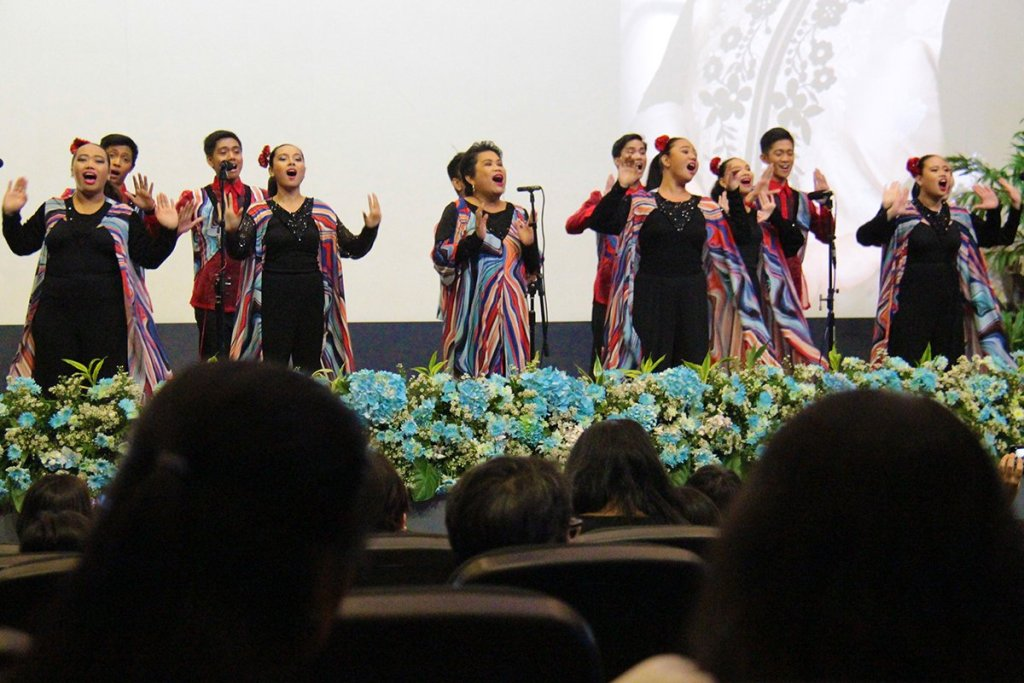 The UP Concert Chorus, with Prof. Janet Sabas-Aracama (center) as conductor, performs a medley of OPM (original Pinoy music) favorites. (Photo by Jun Madrid, UP MPRO)
