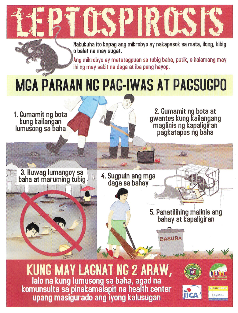 An information campaign poster used by the UP Manila College of Public Health team in spreading awareness of Leptospirosis.