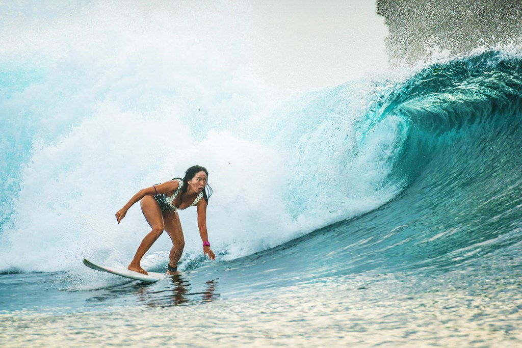 Taking some time off from work, Marja chases the majestic waves of Siargao. (Photo by Pedro Morena)
