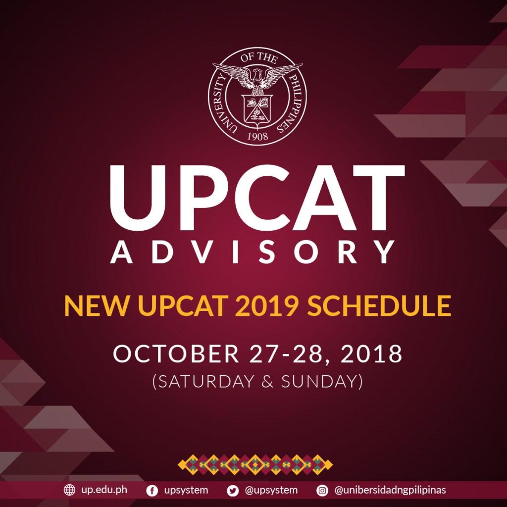 new UPCAT schedule