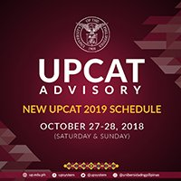 New UPCAT 2019 schedule
