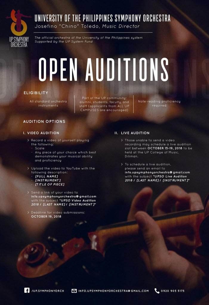 Call for auditions for the UP Symphony Orchestra