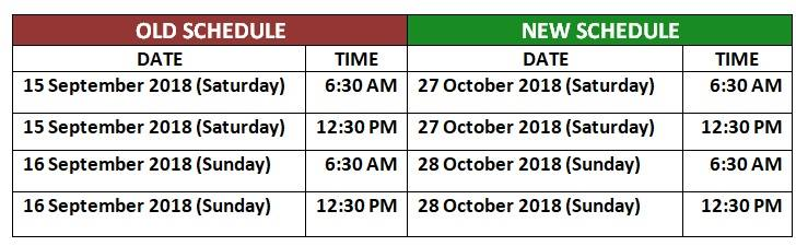 TAKE NOTE OF THE CHANGES IN SCHEDULE