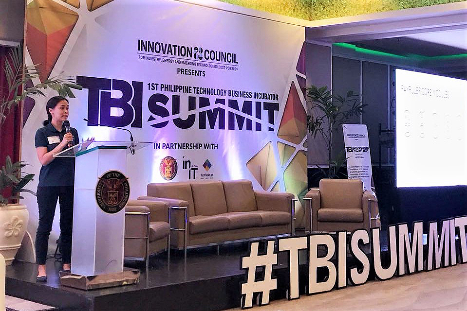 Timmy De Jesus, Payruler chief operations officer, narrates the Payruler story during the First Philippine Technology Business Incubator Summit held in Cebu. (Photo from Payruler Facebook)