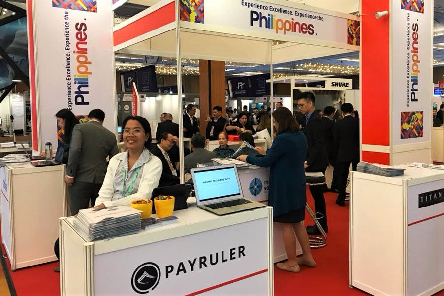 Presenting the product at Marina Bay Sands Expo and Convention Center, Singapore. (Photo from Payruler Facebook)