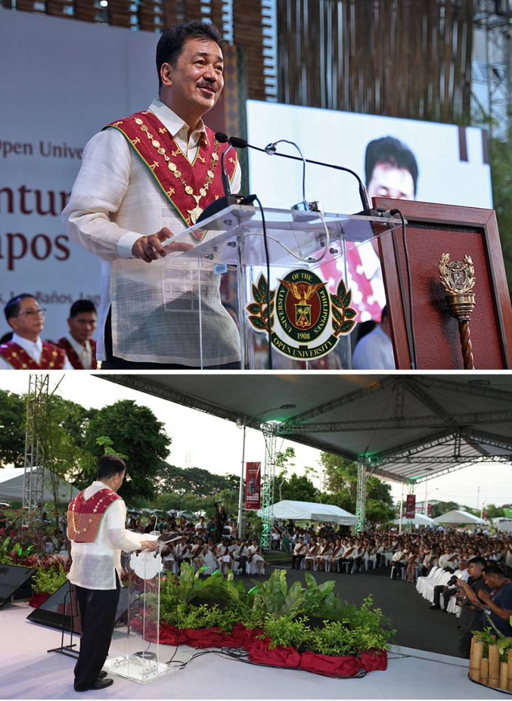 Commission on Higher Education Officer-in-Charge J. Prospero de Vera III addresses the graduating class of UPOU. (Photos by Misael Bacani, UP MPRO)