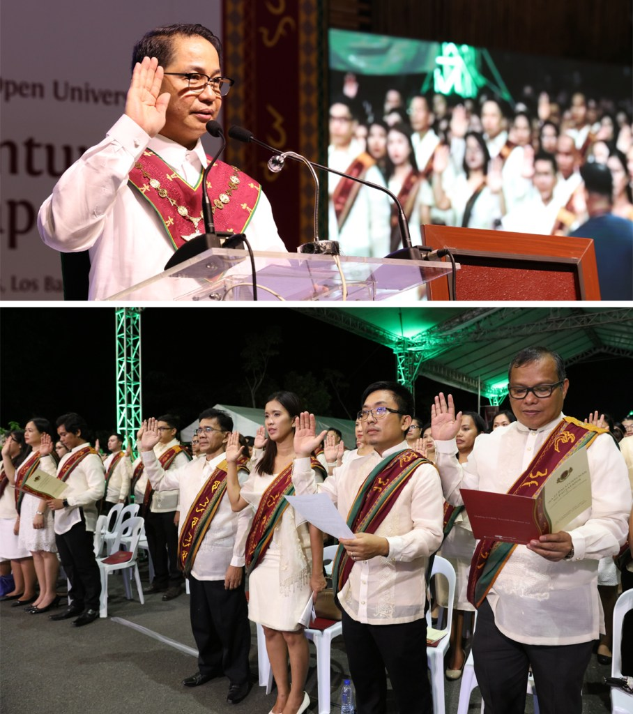 UP President Danilo Concepcion leads the graduates in pledging loyalty to the University. (Photos by Misael Bacani, UP MPRO)