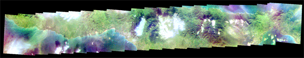 A stitched together panorama of multispectral images of Palawan's sediment plumes. (Courtesy of PHL-Microsat project)