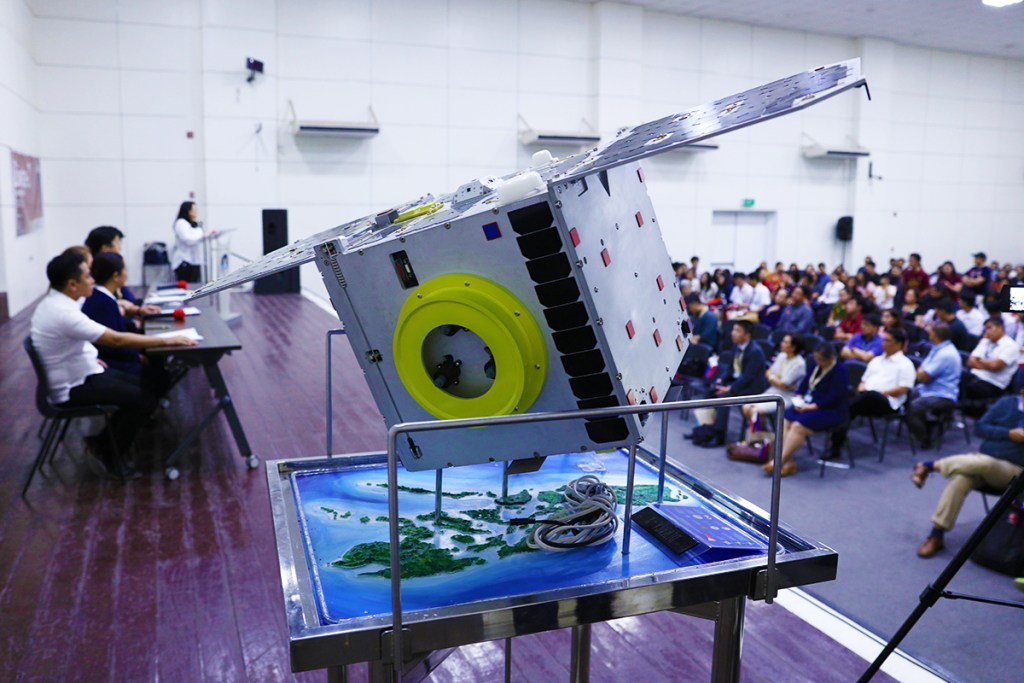 A replica of Diwata-2 overlooks the GT-Toyota Auditorium. (Photo by Misael Bacani, UP MPRO)
