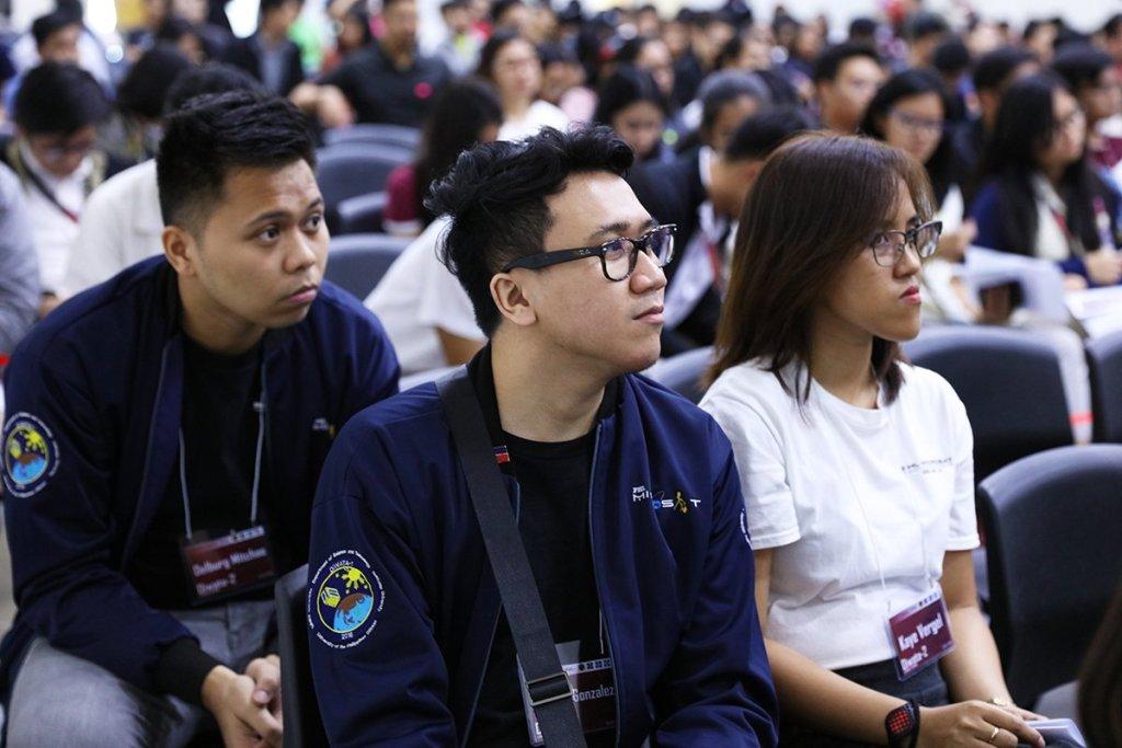 PHL-Microsat Project's Delburg Mitchao, Ariston Gonzalez and Kaye Kristine Vergel. (Photo by Misael Bacani, UP MPRO)