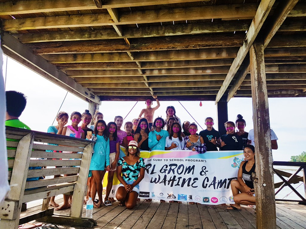 Surf to School's Girl Grom and Wahine surf competition at the Cloud 9 tower, Siargao (Photo courtesy of Edeline Payawal)
