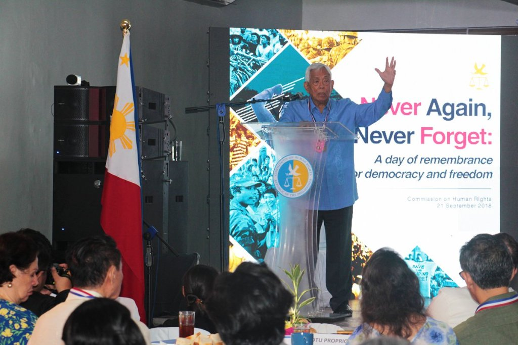 """Former Senate President Aquilino Q. Pimentel Jr. speaks during """"Never Again, Never Forget: A day of remembrance for democracy and freedom"""" held on September 21, 2018 at the CHR building in UP Diliman, Quezon City. (Photo by Jun Madrid, UP MPRO)"""