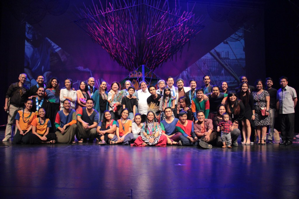 Tanghalang Pilipino's cast and staff, with Junyee, Tess, and UP officials and faculty. (Photo by Jun Madrid)