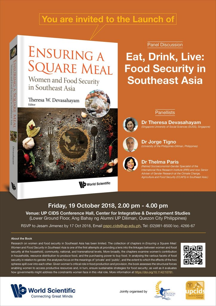 """Book Launch and Panel Discussion: """"Ensuring a Square Meal: Women and Food Security in Southeast Asia"""""""