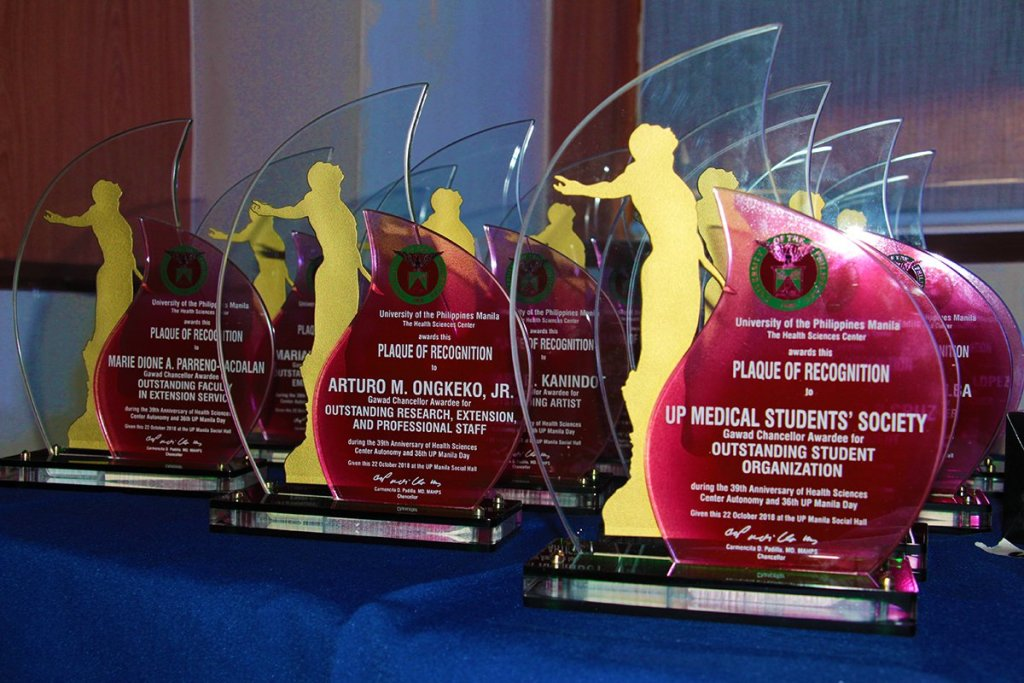 The Gawad Chancellor trophies of UP Manila. (Photo by Jun Madrid, UP MPRO)