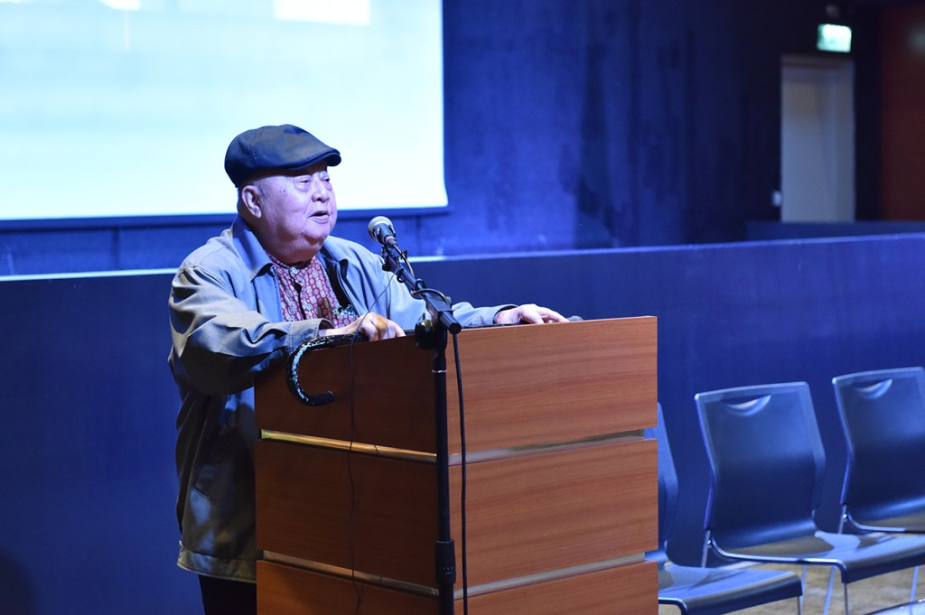 """National Artist for Literature F. Sionil Jose acknowledges what many of the Akademyang Filipino members are doing """"to build a nation that is just, sovereign, and also happy"""". (Photo by Bong Arboleda, UP MPRO)"""
