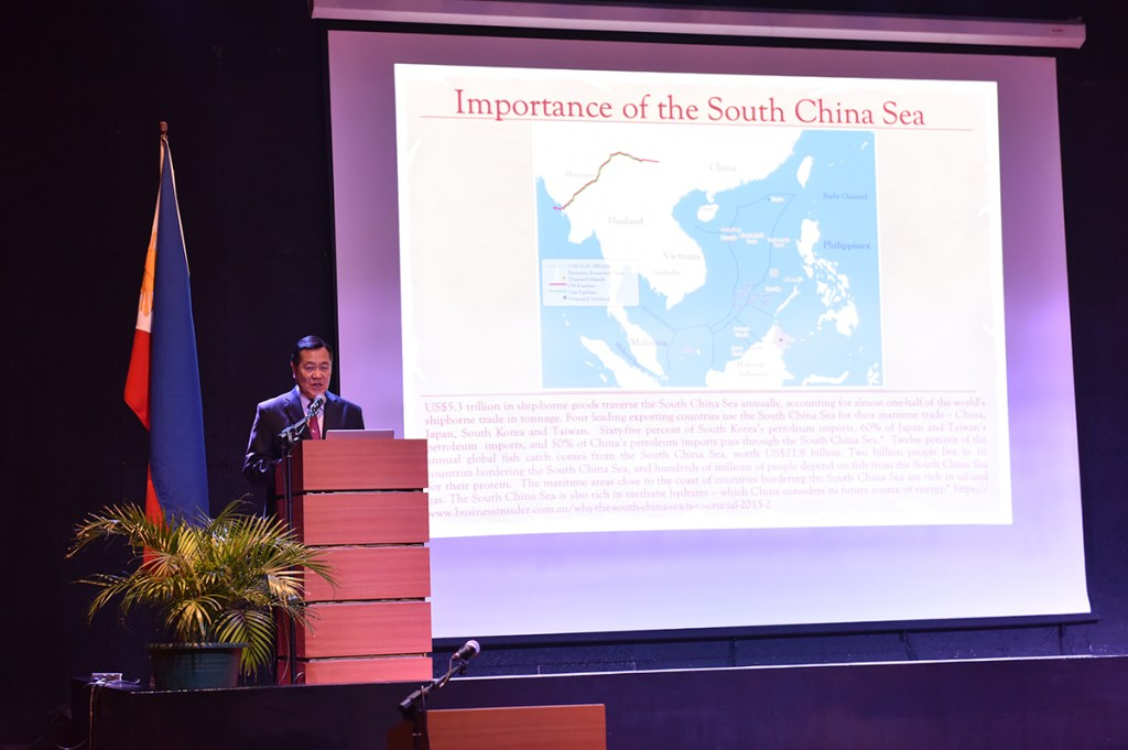 Senior Associate Justice Antonio Carpio starts his keynote address by highlighting the economic importance of the South China Sea. (Photo by Bong Arboleda, UP MPRO)