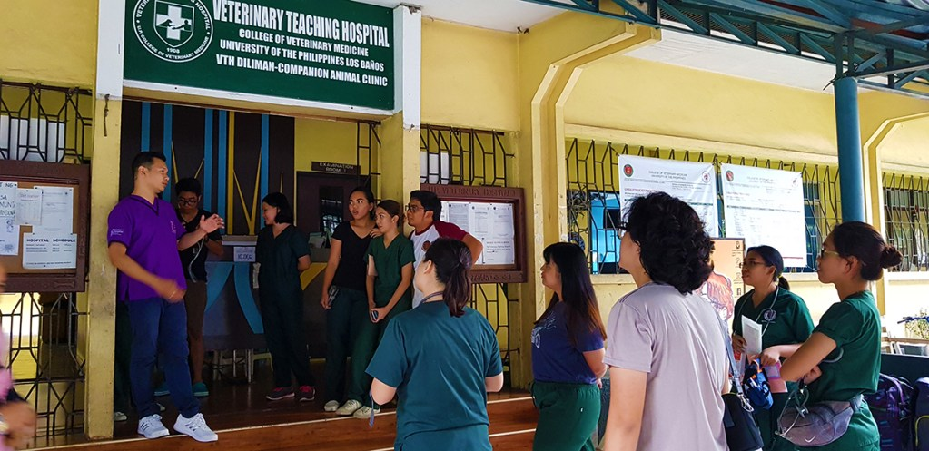 Dr. Rey Oronan, Faculty-in-Charge of the Veterinary Teaching Hospital at UP Diliman, speaking to the vet-students working in the clinic. (Photo by Celeste Llaneta, UPMPRO)