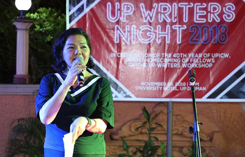 Gougou de Jesus hosts UP Writers Night 2018. (Photo by Misael Bacani, UP MPRO)