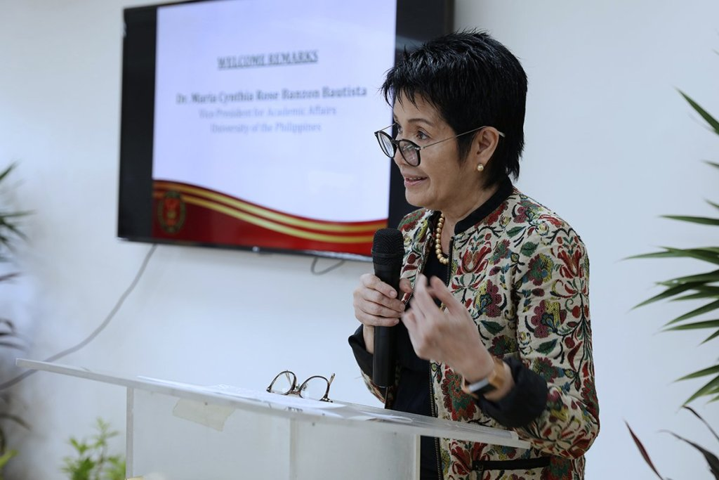 VP for Academic Affairs Maria Cynthia Rose B. Bautista delivers the opening remarks. (Photo by Misael Bacani, UP MPRO)