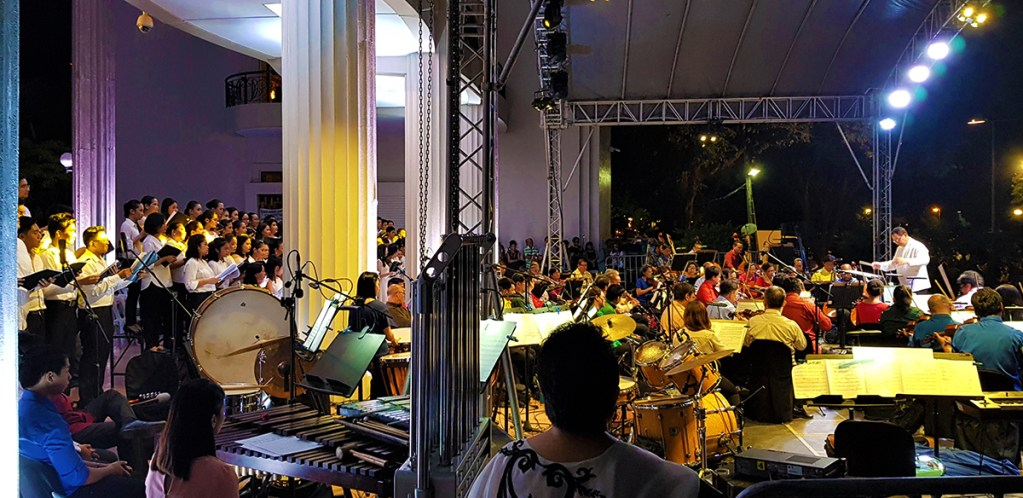 The Quezon Hall portico extending to the steps serves as the concert stage. (Photo by Jo. Lontoc, UP MPRO)