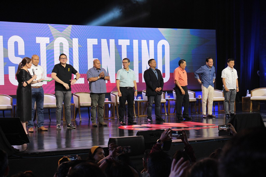 The eight senatorial candidates are introduced at the University Theater. (Photo by Jun Madrid, UP MPRO)