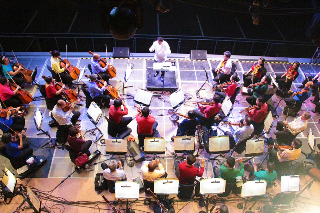 The PPO's central strings and woodwinds section as seen from the Quezon Hall bridge. (Photo by Jun Madrid, UP MPRO)