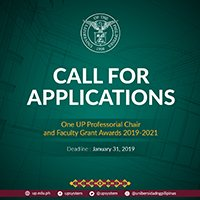 Call for Applications: One UP Professorial Chair and Faculty Grant Awards 2019-2021