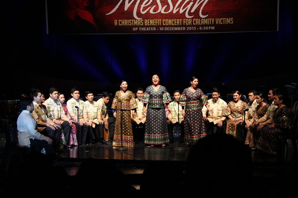 The Philippine Madrigal Singers performing their spot number during the 2013 UP Diliman performance of Handel's Messiah. (Photo by Bong Arboleda, UP MPRO)
