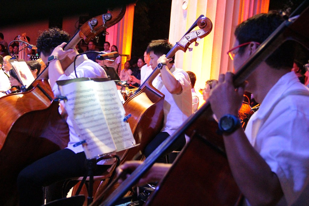Double basses at the rear (Photos from 'Simulain at Pangarap' concert by Jonathan Madrid, UP MPRO)