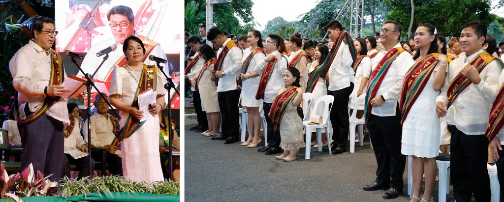 In the left photo, UP Executive Vice President Teodoro Herbosa (left) confers the degrees and titles upon the graduation class after they were endorsed by UPOU Chancellor Melinda Bandalaria (right). In the right photo, the graduates have just shifted their Sablay from the right shoulder to the left as a symbol of their graduation from the University. (Photos by Misael Bacani, UP MPRO)