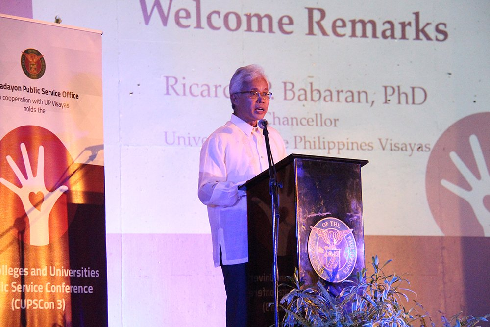 Welcoming the participants, presenters, guests and government officials to the host UP campus is Chancellor Ricardo Babaran. Photo by Jun Madrid, UP MPRO.