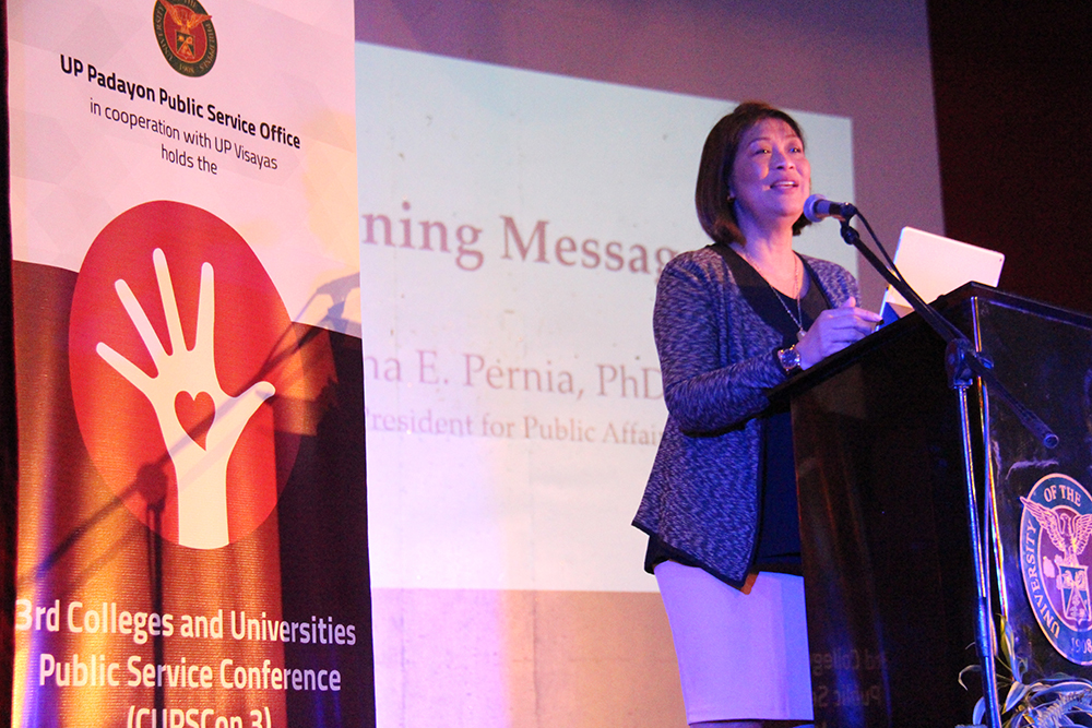 UP Vice President for Public Affairs Elena Pernia emphasizes the relevance of this year's conference as a potential platform to establish partnerships to make research works more strategic, efficient and truly sustainable to communities. Photo by Jun Madrid, UP MPRO.