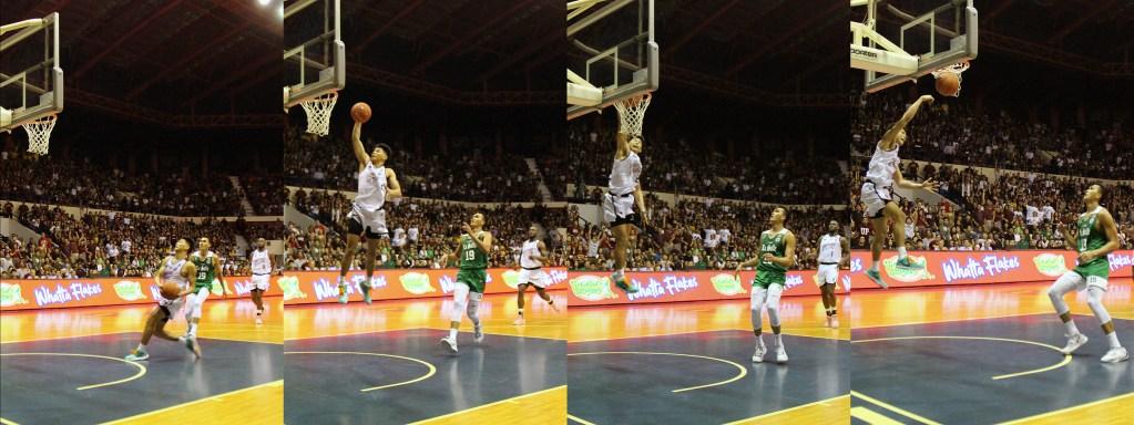 Ricci Rivero retaliates with a fast-break dunk. Photo by Jun Madrid, UP MPRO