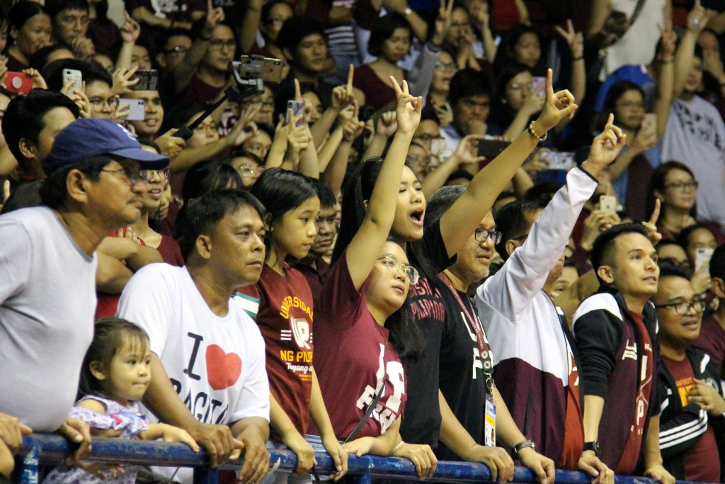 The UP community cheers Jun Manzo on for his last free throw in the game. Photo by Jun Madrid, UP MPRO