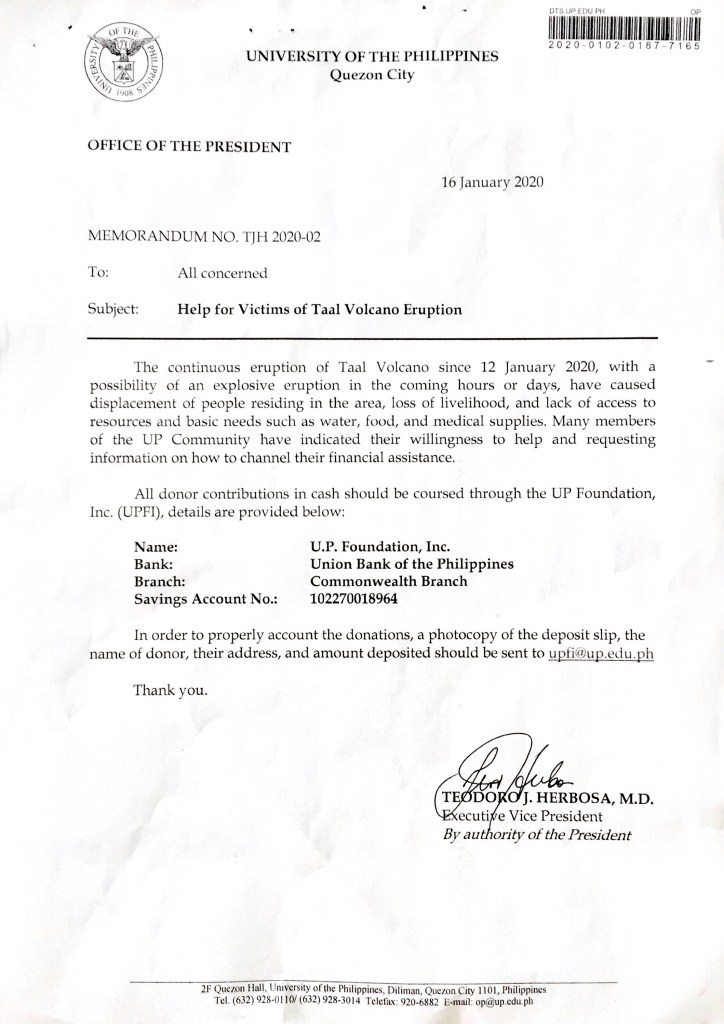 Help for Taal Volcano Eruption Victims