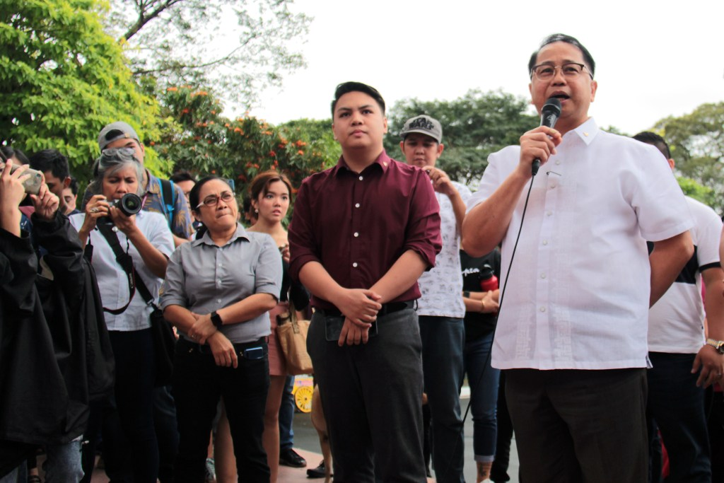 UP President Danilo Concepcion announces the BOR confirmation of Fidel Nemenzo as the next chancellor of UP Diliman. Looking on are Staff Regent Mylah Pedrano and Student Regent John Isaac Punzalan. Photo by Jun Madrid, UP MPRO.