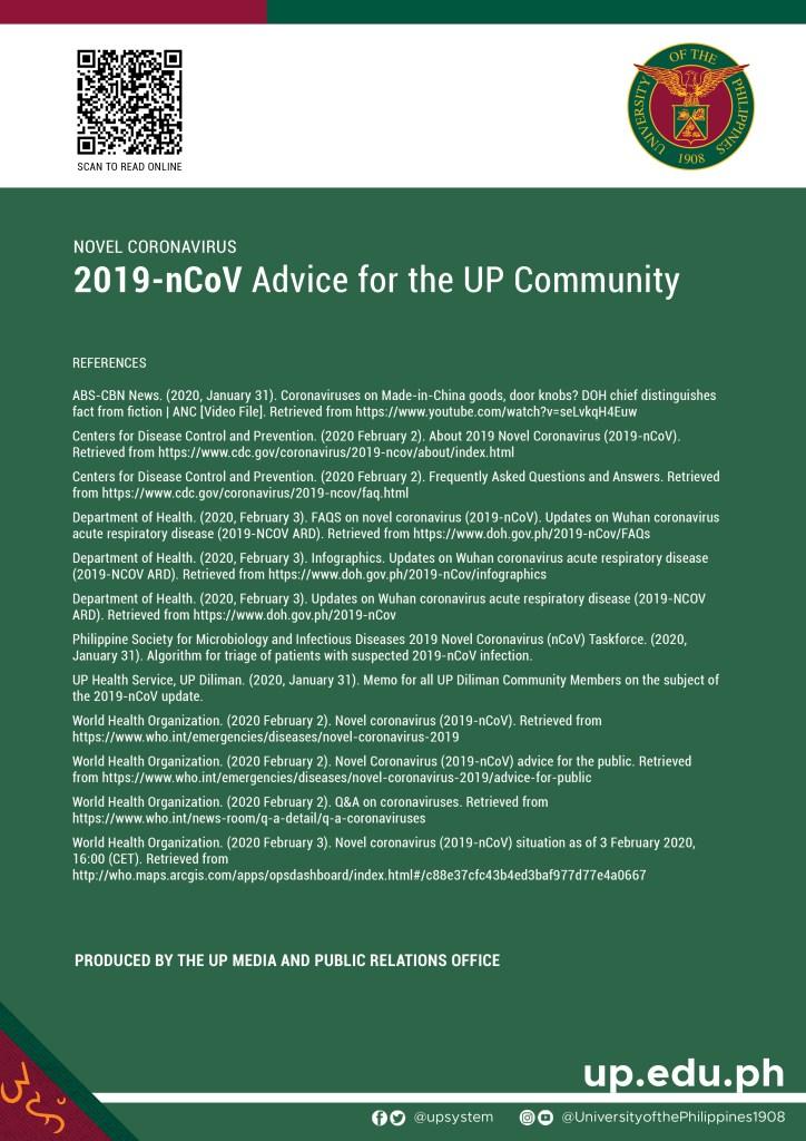 Novel coronavirus (2019-nCoV) Advice for the UP Community