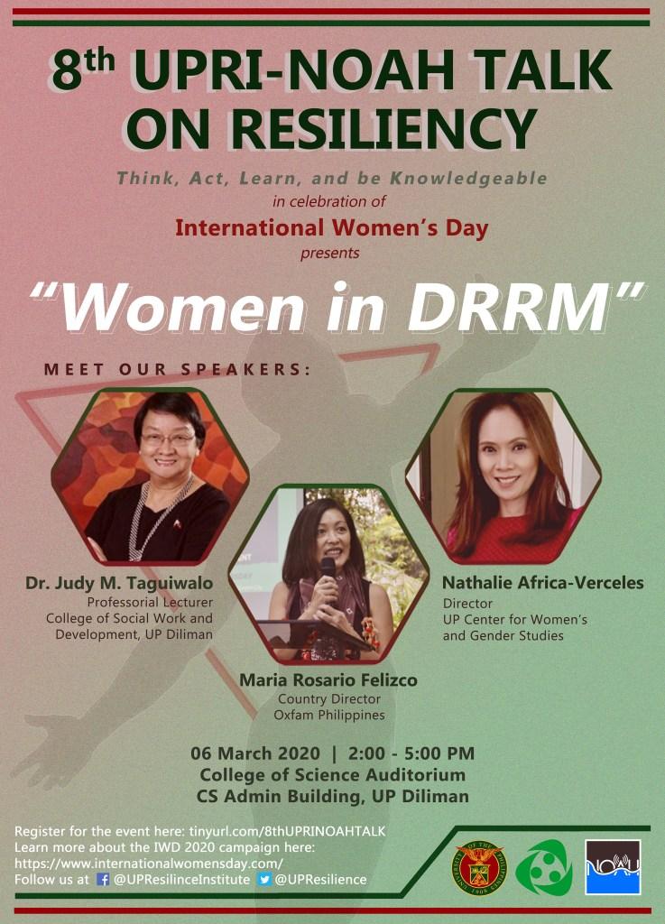 8th UPRI-NOAH Talk on Resiliency: Women in DRRM