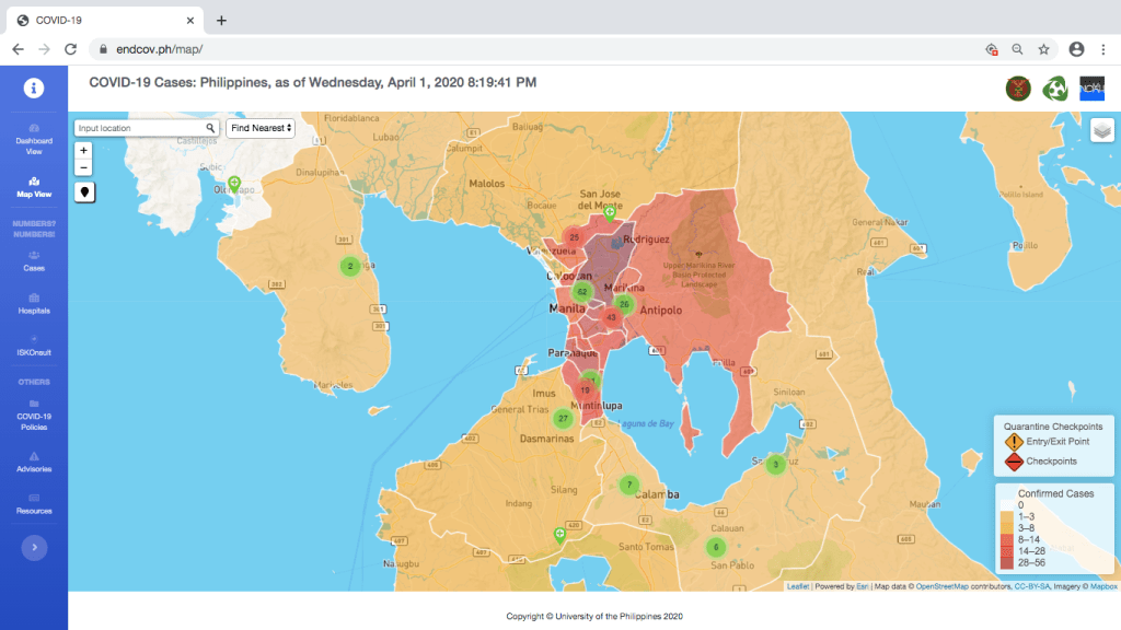 "Endcov.ph's map view has a color-coded ""heat map"" showing which localized areas have the most (darker areas) and the least (brighter areas) number of confirmed COVID-19 cases."