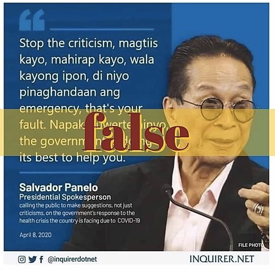 [20200417_Factrakers1.jpg] Panelo's anti-poor quote concocted—FactRakers. Read fact check here.