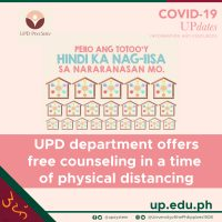 UPD department offers free counseling in a time of physical distancing