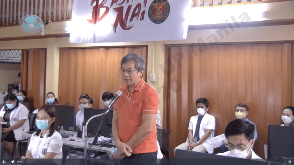 """UP-PGH director Dr. Gerardo """"Gap"""" Legaspi. Screenshot from the Launch of UP-PGH COVID-19 Bayanihan Operations Center."""