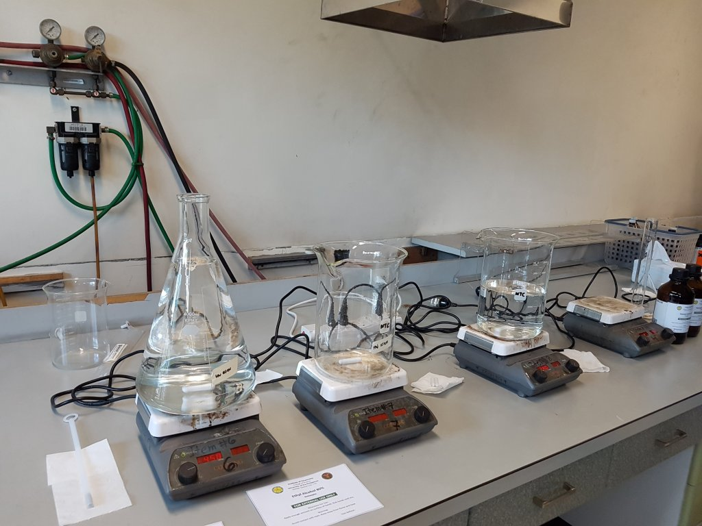 Chemicals being processed in the production of alcohol in a UP Diliman Institute of Chemistry laboratory. Photo courtesy of the UP Diliman Institute of Chemistry
