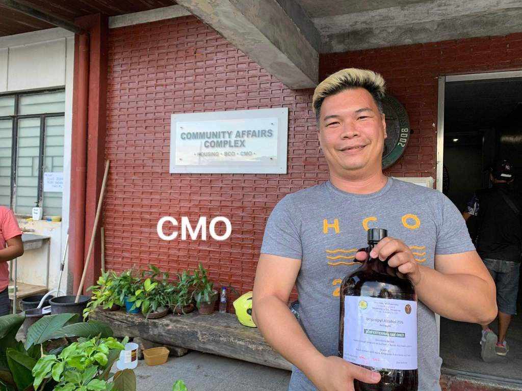 Alcohols prepared by a UP Diliman Institute of Chemistry team being received at the Campus Maintenance Office, the UP Diliman Police, Acacia Residence Halls, and the University Health Service. Photo courtesy of the UP Diliman Institute of Chemistry