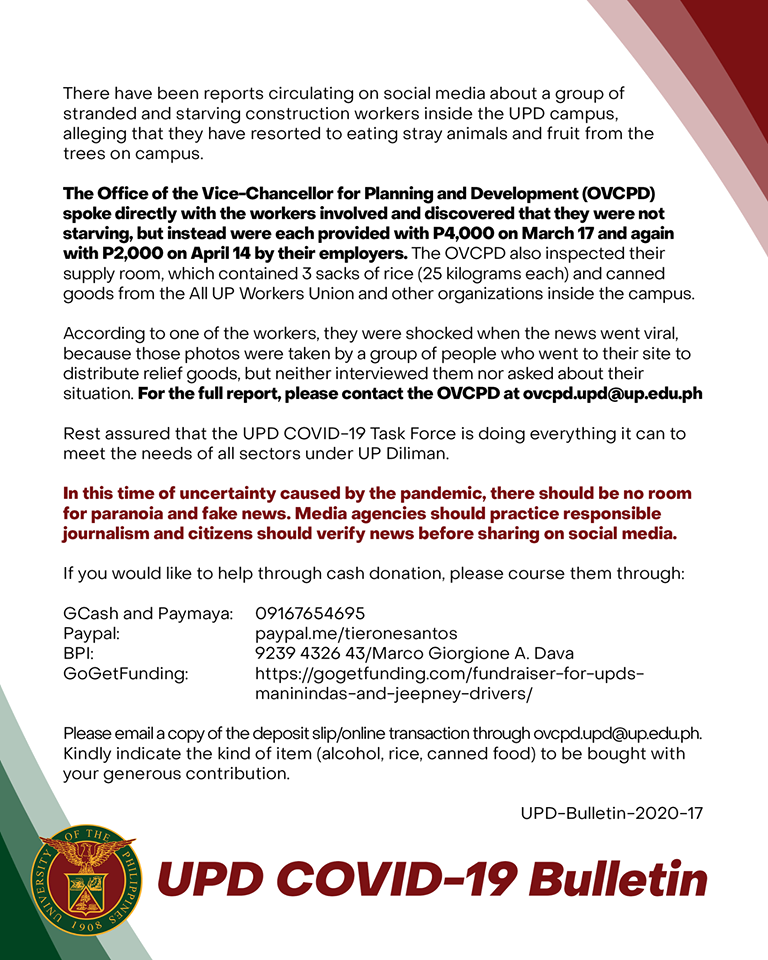UP Diliman's bulletin on stranded construction workers on campus